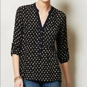 Anthropologie navy blue henley button blouse Sz 4